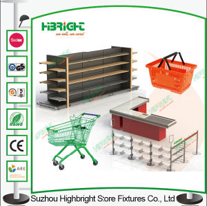 Metal Handle Supermarket Shopping Basket Plastic Basket pictures & photos