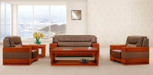 Office Genuine Leather Sofa Set Antique with Wood Frame (HY-S945)