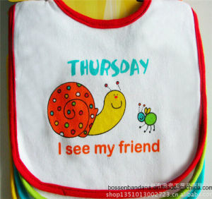 China Supplier Customized Design Printed White Cotton Terry Baby Bib pictures & photos