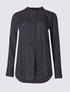 Pure Cotton DOT Printed Long Sleeve Blouse pictures & photos