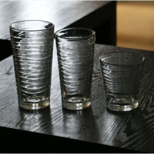 305ml Stripe Straight Body Transparent Juice Cup Multi Function Glass Cup pictures & photos