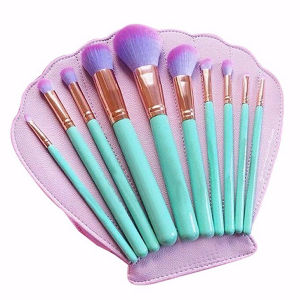 10PCS Hot Shell Shape Bag Cosmetic OEM Makeup Brushes Set pictures & photos