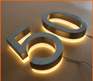 High Luminunce Waterproof #304 Stainless Steel Gold-Plated Back Lit Outdoor LED Signs pictures & photos