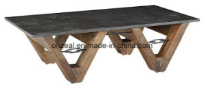 Antique Rectangle Solid Pine Wood Coffee Table, Living Room Wooden Stone Table pictures & photos