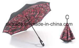 Windproof Double Canopies Portable Umbrella with C Type Handle pictures & photos