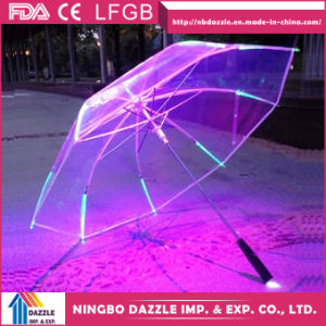 Chinese Safe Promotional Transparent Kid Straight LED Umbrella pictures & photos