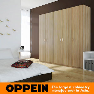 Modern Bedroom Wood Grain Melamine Hinged Wardrobe (YG16-M14) pictures & photos