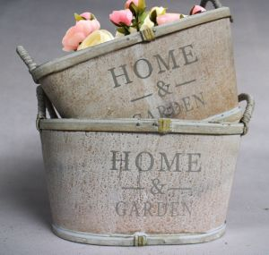 Manufacturers Selling Hand Word Grey White with High Quality and Practical Flowerpot pictures & photos