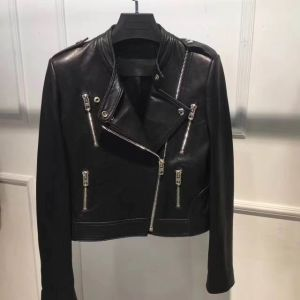 Women′s Leather Jacket, Oblique Zipper, Fashion Clothing pictures & photos