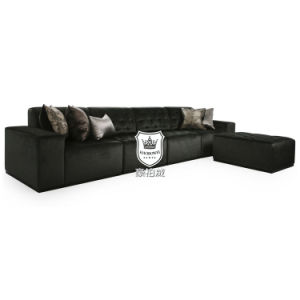Black Velvet Modern Sofas Set Fabric with Bottoned Back&Seat pictures & photos