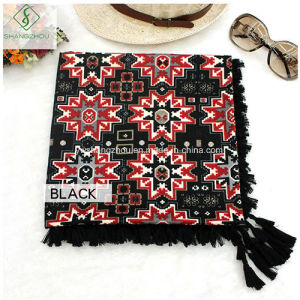Lady Fashion Square Scarf with Tassel National Style Shawl Printed Wholesale pictures & photos