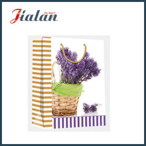 Customize Glossy Laminated Art Paper Lavender Shopping Gift Paper Bag pictures & photos