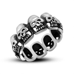 Round Skull Men Rings Stainless Jewelry Vintage Punk pictures & photos