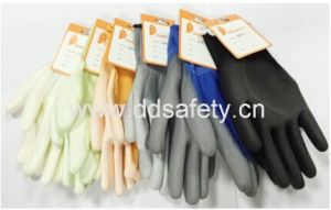 Ddsafety 2017 Blue Nylon Grey PU Glove Safety Gloves pictures & photos