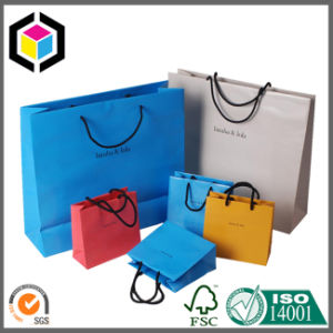Glossy Color Gift Shopping Paper Bag with Cotton Handle pictures & photos
