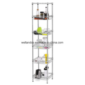 6-Tier Chrome Steel Wire Basket Shelf Shelving for Bathroom & Kitchen Storage Organization pictures & photos