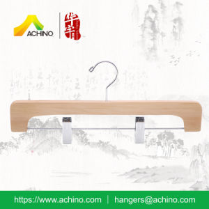 Natural Wooden Trouser Hangers with Swivel Hook pictures & photos