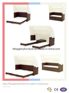 Outdoor Garden Furniture Rattan Beach Sunbed with Canopy (TGLU-015) pictures & photos