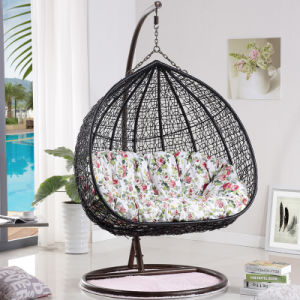 Double Seat Swing Wicker Egg Chair Living Room Swing Chair Luxury Outdoor Furniture (D151A) pictures & photos