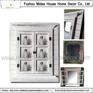 Window Shutter Design Carved Antique White Wooden Mirror Frame (in stock) pictures & photos