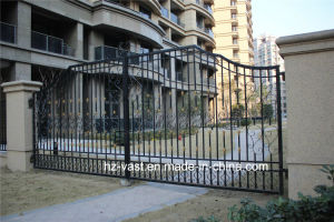 Haohan High-Quality Exterior Security Decorative Wrought Iron Fence Door 3 pictures & photos