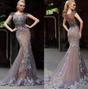 Cap Sleeves Party Prom Foral Gowns Beading Lace Evening Dress E17920 pictures & photos