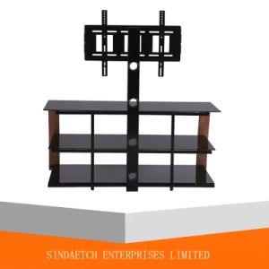 Glass Bended Wood Natural Color TV Stand with Bracket pictures & photos