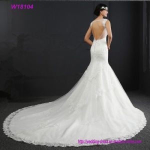 Sexy Open Back Lace Beaded A-Line with Beautiful Train White Wedding Dress pictures & photos