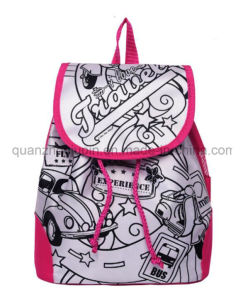 DIY Satin Student Graffiti Doodle Backpack for Promotion pictures & photos
