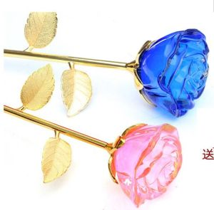 Hot Wholesale Crystal Crafts Long Stem Glass Rose Flower pictures & photos