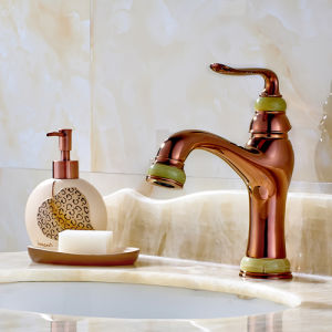 Jade Copper Faucet Rose Gold Plated Basin Single Hand Mixer pictures & photos