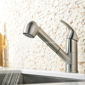 Brushed Nickle Ce Pull out Kitchen Mixer Taps pictures & photos