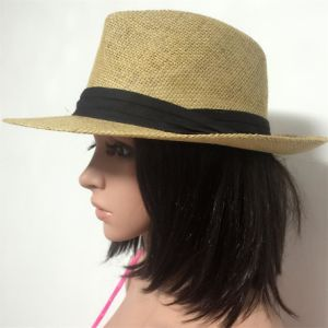 100% Straw Hat, Fashion Fedora Style with Band or Metal Decoration for Men pictures & photos