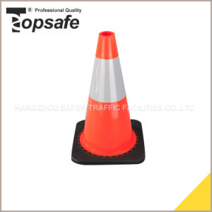 45cm Height Flexible PVC Cone with Black Base Injected by Interlock Way (S-1237) pictures & photos