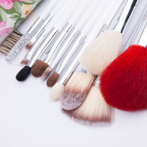 12 Pieces Cosmetic Tool with Elegant Floral Bag Animal Hair Makeup Brushes pictures & photos