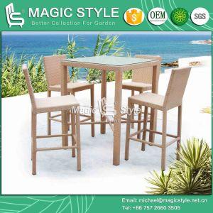 Outdoor Bar Set Wicker Bar Stool Rattan Bar Table Club Chair (Magic Style) pictures & photos