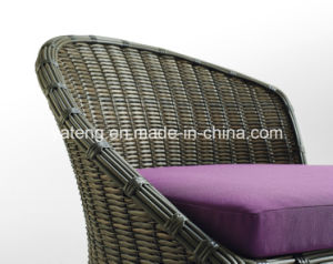 SGS Certificated Double Outdoor Garden Rattan Sofa Set with Stool Soft pictures & photos