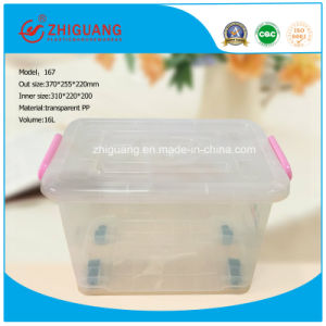 Hight Quality 16L Plastic Storage Box Small Easy Taking Moveable Plastic Box with Handles and Wheels pictures & photos