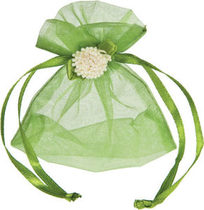 Green Organza Pouch with Flower Decoration pictures & photos