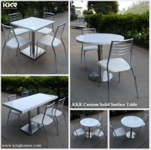 Modern Corian White Solid Surface Dining Table for 4 Seaters