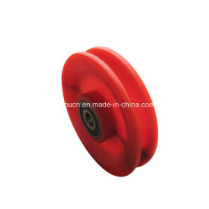 Customized Polyurethane PU Bearing Pulley / PU Cable Guide Pulley / Rubber Grooved Pulley pictures & photos