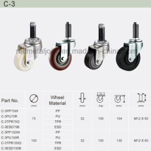 PU Rubber Wheel Thread Stem Top Industrial Caster (C-3) pictures & photos