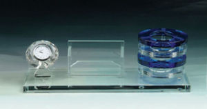 Crystal Glass Namecard and Pen Holder with Clock pictures & photos