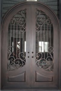 Copper Finish with Round Top Wroughtiron Double Door pictures & photos