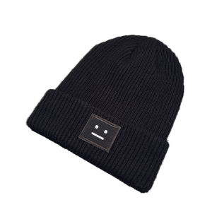 Acrylic Beanie Hat with Leather Patch pictures & photos