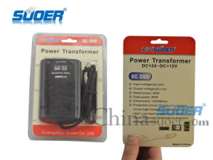 Suoer Power Transformer 60W Car Power Supply Transformer DC 24V to 12V (DC-380) pictures & photos