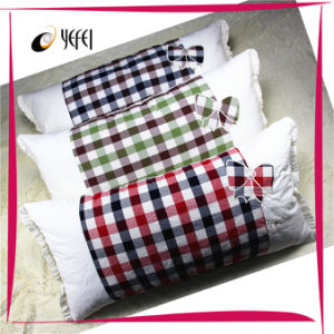 Checked Embroidery Travel Bed Body Large Pillow