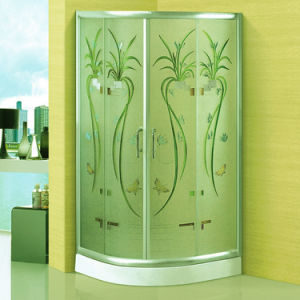 Beauty Hotel Bathroom Manual Caeving Art Glass Shower Cabin (A-091) pictures & photos
