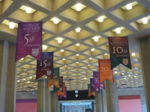 Indoor Ceiling Hanging Double Printing Flag Banner pictures & photos