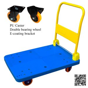 300kg Plastic Platform Hand Truck Foldable Trolley with PU Caster pictures & photos